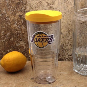 "Tervis 2671140cm NBA La Lakers"" Tumbler with Yellow Lid, 710ml, Clear"