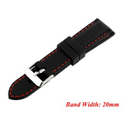Kocome Fashion Men Silicone Rubber Waterproof Sport Wrist Watch Band Strap 20mm Black Red