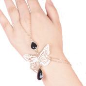 Doinshop Women Simple Butterfly Bead Elegant Fashion Bangle Golden Chain Bracelet