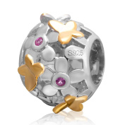 Charmstar Gold Butterfly and Flower Charm 925 Sterling Silver Birthstone Bead for Pandora Charms Bracelet