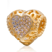 Charmstar Gold Plated Love Heart Charm 925 Silver April Birthstone Bead for Pandora Charms Bracelet