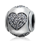 Charmstar True Love Charm Antique 925 Sterling Silver April Birthstone Heart Bead for Pandora Charms Bracelet