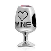 Charmstar Wine Glass Love Charm 925 Silver Birthstone Heart Bead for Pandora Charms Bracelet