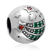 Charmstar Shining Star Charm with Green and Red CZ Stone Authentic Sterling Silver Birthstone Round Bead for European Bracelet