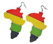 MM Women's Africa Rasta Dangling Hoop Wooden Earrings with Silvertone 7.6cm Long