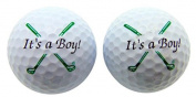 Its a Boy Novelty Golf Ball SET of 2 Golfing Gift for Golfer New Baby Daddy