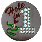 Hole in One-Nickel Golf Ball Marker with Matching Hat Clip