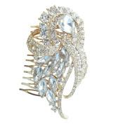 Sindary Wedding Headpiece 9.5cm Bridesmaid Bridal Flower Hair Comb Gold Tone Clear Austrian Crystal HZ4243