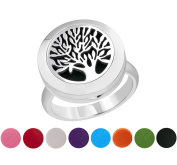 FLYMEI Tree of Life - Premium Aromatherapy Essential Oil Diffuser Locket (20mm) Ring with 8 Washable Pads - Hypo-allergenic 316L Surgical Stainless Steel Jewellery Gift Set