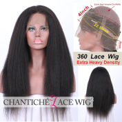 Chantiche Italian Yaki 360 Lace Frontal Wig Human Hair with Extra Heavy 150 Density Brazilian Customised 360 Full Lace Wigs with Baby Hair for Black Women 41cm Natural Colour