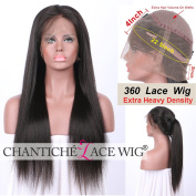 Chantiche Silky Straight 360 Wigs Human Hair with Baby Hair for Black Women Natural Looking Peruvian Lace Wig 360 with High Ponytail 150% Density 41cm Natural Colour
