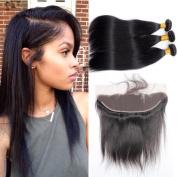 Guangxun Hair Virgin Straight Hair 3 Bundles With 13x4 Lace Frontal Closure,6A Unprocessed Brazilian Remy Human Hair Bundles With Frontal Closure Natural Colour