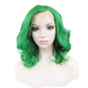 Synthetic Lace Front Wig Medium Hair Length Wave Green Wig