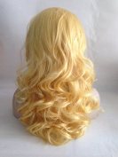 Cupidlovehair Yellow Blonde Wave Medium 46cm Heat Resistant Korea Synthetic Fibre Hair Lace Front Wigs Natural