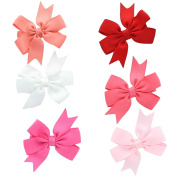 My Lello Small 6.4cm Girls Hair-Bow Boutique Pinwheel Mixed Variety 6 Pack Light Coral/White/Hot Pink/Red/Coral Rose/Light Pink