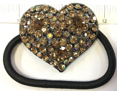 Rhinestone Heart Design Hair Ponytail Holder Champagne Colour(PT-024)