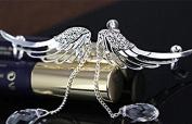 Top McKinleyAngel Fairy Wings Crystal Long Fringe Earrings Pierced Ears without Ear Clip