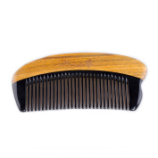 Breezelike Hair and Beard Comb - No Static Fine Tooth Natural Sandalwood Horn Comb - Handmade Mini Pocket Comb with Premium Gift Box