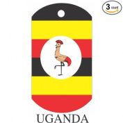 Uganda Flag Dog Tags - 3 Pieces