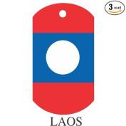 Laos Flag Dog Tags - 3 Pieces
