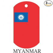 Myanmar Flag Dog Tags - 3 Pieces