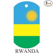 Rwanda Flag Dog Tags - 3 Pieces