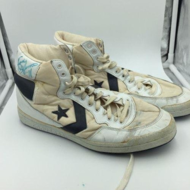 Pair Of 1980's Isiah Thomas Signed Game Used Converse Sneakers Shoes - PSA/DNA Certified - Autographed NBA Sneakers