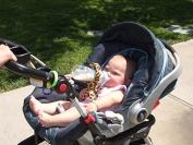 BABY BOTTLE HOLDER Hands Free Feedin, Blue white polka dots