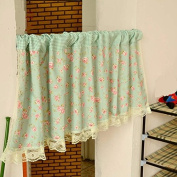 Green Floral Pattern Cotton Lace Window Curtain Valances for Kitchen Living Dining Room Bathroom Kids Girl Baby Nursery Bedroom 150cm x 50cm