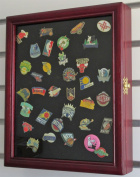 Pin/Medal Display Case Shadow Box, glass door, wall mount, Cherry Finish