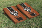 Brooklyn BKN Nets NBA Basketball Cornhole Game Set Rosewood Stained Stripe Version