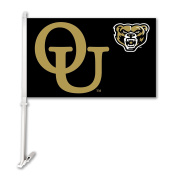 NCAA Oakland Golden Grizzlies Car Flag with Wall Bracket, Black, One Size