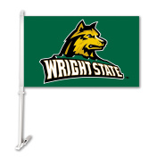 NCAA Wright State Raiders Unisex NCAA Car Flag with Wall Bracket, Green, One Size