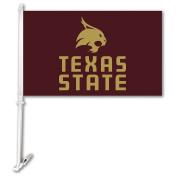 NCAA Texas State Bobcats Unisex NCAA Car Flag with Wall Bracket, Maroon, One Size