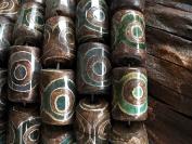 Beautiful 15mm x 22mm Cylinder Tibetan Beads, Strand of 15 Beads TB12