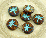 4pcs Picasso Opaque Ivory Brown Travertine Turquoise Wash Rustic Dragonfly Flat Coin Round Czech Glass Beads 17mm