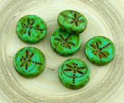 4pcs Picasso Turquoise Green Brown Spotted Travertine Rustic Dragonfly Flat Coin Round Czech Glass Beads 17mm