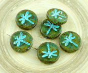4pcs Picasso Crystal Green Travertine Turquoise Wash Rustic Dragonfly Flat Coin Round Czech Glass Beads 17mm