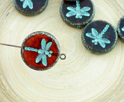 4pcs Picasso Crystal Red Travertine Matte Turquoise Wash Rustic Dragonfly Flat Coin Round Czech Glass Beads 17mm