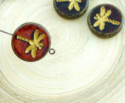 4pcs Picasso Crystal Red Travertine Matte Gold Wash Rustic Dragonfly Flat Coin Round Czech Glass Beads 17mm