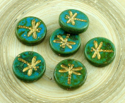 4pcs Picasso Turquoise Green Blue Travertine Matte Gold Wash Rustic Dragonfly Flat Coin Round Czech Glass Beads 17mm
