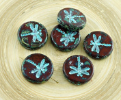 4pcs Picasso Dark Red Travertine Turquoise Wash Rustic Dragonfly Flat Coin Round Czech Glass Beads 17mm