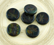 4pcs Picasso Red Brown Travertine Matte Rustic Dragonfly Flat Coin Round Czech Glass Beads 17mm