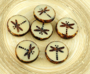 4pcs Picasso Biege Brown Rustic Window Dragonfly Flat Coin Table Cut Window Round Czech Glass Beads 17mm