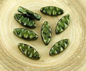 10pcs Metallic Green Lustre Flat Oval Waved Carved Petal Czech Glass Beads 18mm x 7mm