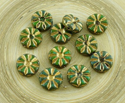 8pcs Picasso Turquoise Green Brown Gold Bronze Wash Flower Flat Coin Czech Glass Beads 12mm