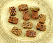 Picasso Brown Table Cut Window Carved Rectangle Czech Glass Beads 12mm x 8mm 6pcs
