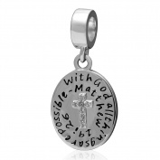 Artbeads Bible Dangle Charms 925 Sterling Silver Christian Beads Keep Faith Charm for DIY Charm Bracelets