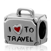 Artbeads I Love To Travel Charm 925 Sterling Silver Suitcase Charm for European Bracelet Compatible