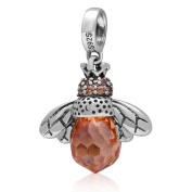 Artbeads Dangling Queen Bee Charm with Faceted Topaz Stone 925 Sterling Silver Beads Fits on European Charm Bracelets